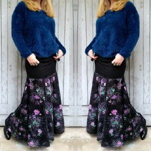 Refashioned Vtg Floral & Denim Maxiskirt (M/L)
